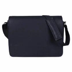 Leather Plain Messenger Bag - Navy