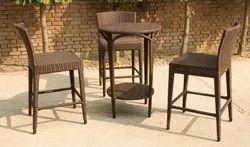 Rattan Bar Stool Set with Table