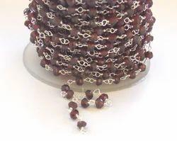 Natural Garnet Silver Rosary Chain