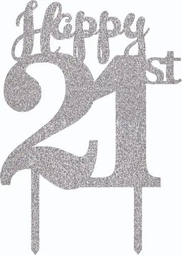 Wanna Party 21st Birthday Acrylic Silver Glitter Cake Topper