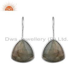 Natural Labradorite Gemstone Designer Fine Silver Hook Earrings