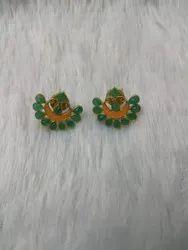 Brass Studs Green Glass Stone Earrings