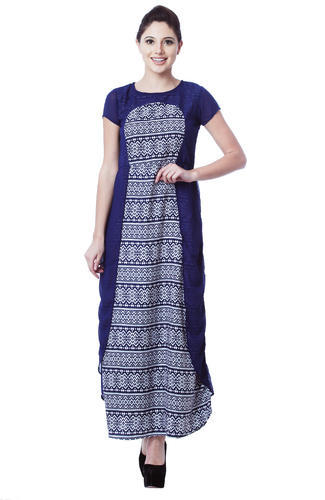 128aed516bf4 Plus sizes Crepe Women Semi Formal Layered Georgette Printed Blue Long Dress