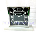Black Dial Stainless Steel Table Clock On Marble Base