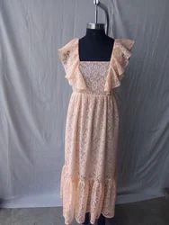 Ladies Designer dress with frilled sleeve
