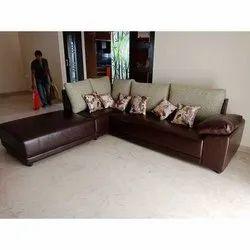 Brown L Shape Sofa Set
