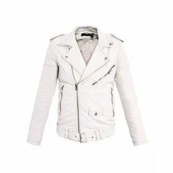 Women's White Biker Jacket With Belt