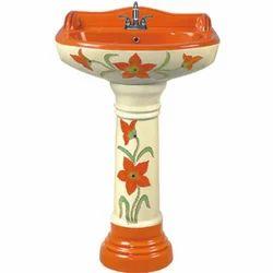 Florence Orange Floral Printed Pedestal Ceramic Wash Basins for Home & Hotel