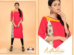 Multi Colour Rayon Straight Kurti