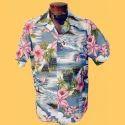 Mens Cotton Hawaiian Printed Shirt, Size: 38-44