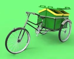 Garbage Bicycle Rickshaw With Plastic Container