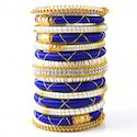 Indian Handcraft Hot Blue White Colourful Silk Thread Bangle