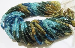 Multi Apatite Rondelle Faceted Beads