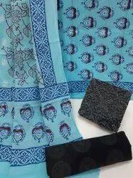 Bagru Hand Block Printed Cotton Dress Material With Cotton Dupatta.