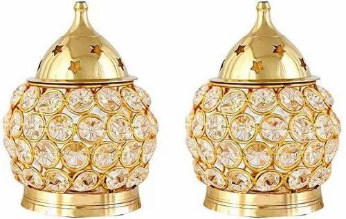 Traditional Festivals Designer Brass Diya, Finish Type: Golden