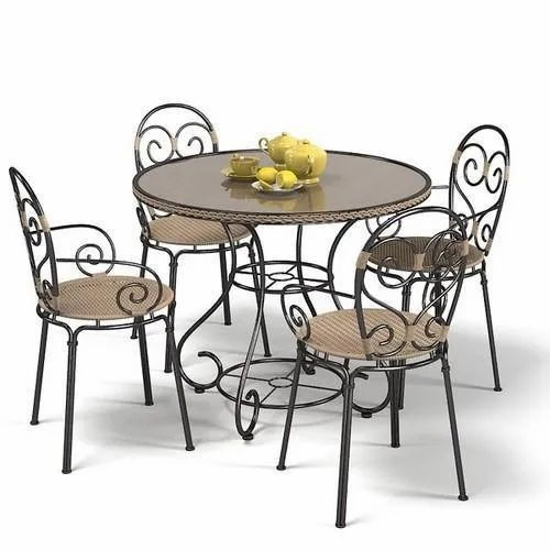 Round Powder Coated Wrought Iron Dining Table Set For Hotel Rs 18000 Set Id 21875624212