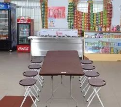 1 Rectangular Table,8 Stools Hd Polymer Restaurant Table & Chair, Seating Capacity: 8
