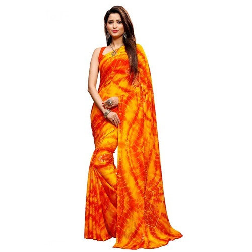 Red-Yellow Bandhani Saree