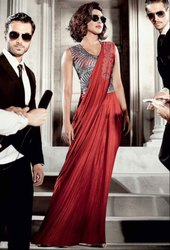 Priyanka Chopra Red Saree Style Gown
