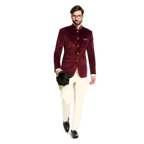 Wedding Plain Mens Velvet Jodhpuri Suit
