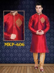 Dot Exports Silk Wedding Red Maroon Traditional Heavy Kurta Pyjamas for Men
