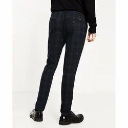 Black Cotton Mens Check Casual Pant