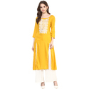 Yellow 3/4th Sleeve Rayon Embroidered Kurti, Size: S, M, L & Xxl