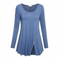 Plain Jersey Ladies Round Neck Western Dress, Size: S-XXL, Xs To 2xl