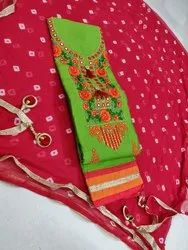 Cotton Suit With Mirror Work