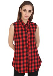 Red and Black Checks Cotton Top