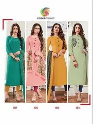 Straight Round Neck Ladies Designer Cotton Kurti, Size: S-XL