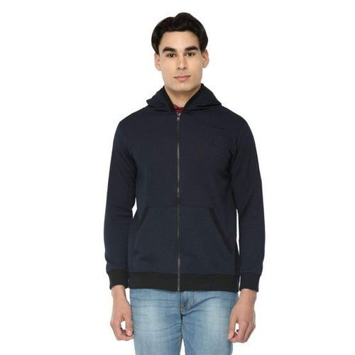 56cf35fa Cotton Plain Navy Blue Mens Winter Hoodie, Size: M, Rs 449 /piece ...