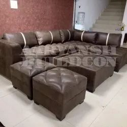 Brown Wood L Shape Sofa Set for Home, Size: Contemporary