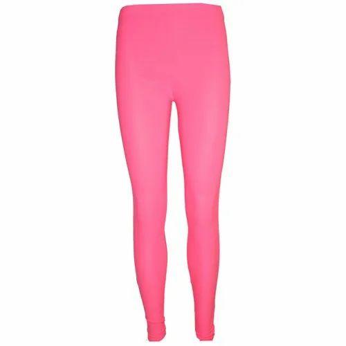 Plain Cotton Lycra Ladies Pink Legging