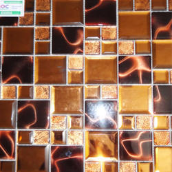 Globentis Waterproof Metal Mix Glass Gold Foil Mosaic Tile, Thickness: 12 - 14 mm