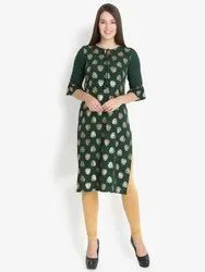 Gold Foiled Green Crepe Kurti
