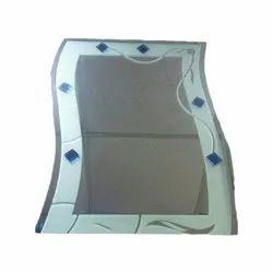 Wall Mounted Polised Designer Bathroom Mirror, Packaging Type: Box