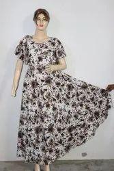 Half Sleeves Printed Maxi Dress