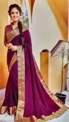 Vichitra Party Wear Silk Saree, With blouse piece, 6.3 m (with blouse)