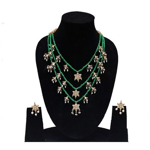db934c87b3d9a Partywear Green Color 3 Layer Necklace Earrings Set