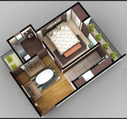 1bhk 3d Layout Hi Tech Homes