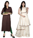 Rusicaa Womens Tassar Silk Kurti And Dress Brown And Beige Color Pack Of 2