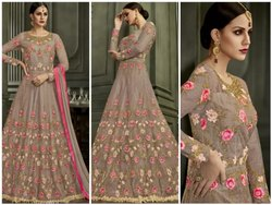 Beige Melbury With Fusing Embroidered Semi-Stitched Anarkali Suit