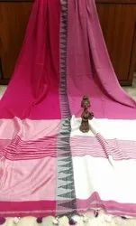 Runu's Boutique Formal Wear Khadi Madhyamoni Cotton Saree With Blouse Piece