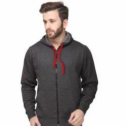 Mens Grey Plain Hoodie Jacket