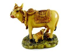 Handmade Handpainted Cow and Calf Resin Figurine Sculpture