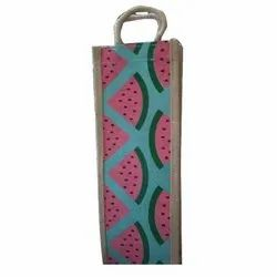 Printed Rope Handle Jute Bottle Bag