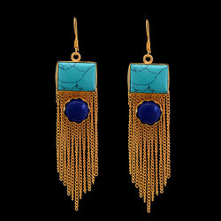Gold Plated Turquoise And Lapis Lazuli Gemstone Long Chain Earrings