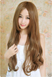 Girls Fluffy Golden Brown Curly Long Hair Wig