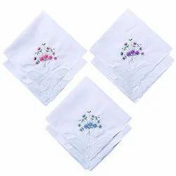 Ladies Embroidered Cotton Handkerchief